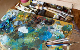 Used the artist`s palette, brushes, close-up. Royalty Free Stock Image