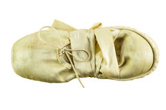 Used ballet shoes. Used folded ballet shoes isolated on white Royalty Free Stock Images