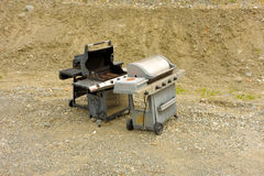 Used barbecues at a waste disposal site Stock Image