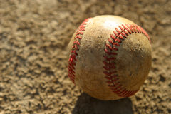 Used Baseball. Worn Baseball sitting on dirt Royalty Free Stock Photos