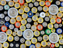 Used batteries. Top wiew of used batteries for background Stock Photography