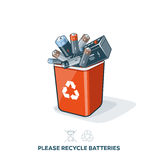 Used Batteries in Recycling Bin. Used batteries in red recycling trash bin in cartoon style. E-waste separation management concept Royalty Free Stock Photography