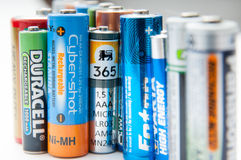 Used batteries row Royalty Free Stock Photo