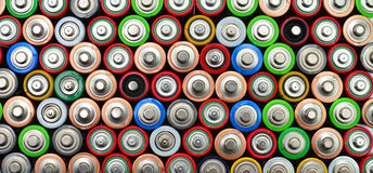 used batteries top view Royalty Free Stock Photography