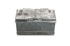 Used battery on isolated backgrond Royalty Free Stock Images