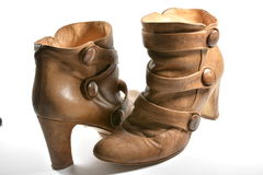 Used beige boots. A photo of a used beige boots Royalty Free Stock Photo