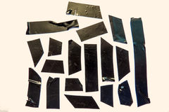 Used Black Tape Pieces Royalty Free Stock Photo