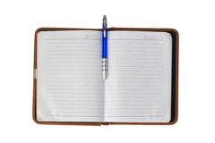 Used blank organizer notebook with pen isolated on white Royalty Free Stock Images