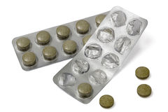 Used  blister pack with pills, isolated on white, with clipping path Stock Photography