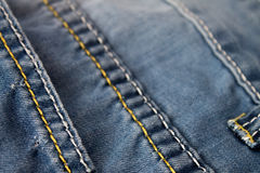 Used blue Jeans macro Stock Image