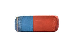Used Blue and Red Rubber Pen Eraser isolated on white Royalty Free Stock Photo