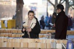Used book market under Waterloo Bridge, South Bank, London, England, United Kingdom, Europe Royalty Free Stock Photo