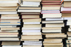 Used books. Stacks of used books at flea market stock photography