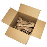 Used box. A used box filled with paper Royalty Free Stock Images