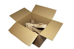 Used box. A used box filled with paper Royalty Free Stock Photo