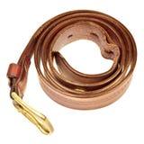 Used broun leather belt. Isolated on white background stock photography
