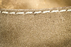 Used brown leather texture with white stitching Stock Photos