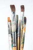 Used brushes. Of artist with white background Stock Photos