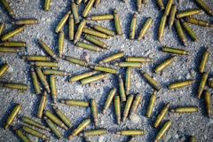 Used bullet shells top view Stock Images