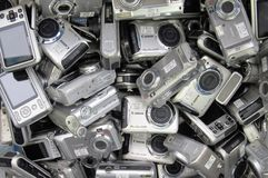 Used cameras on box sale Royalty Free Stock Image