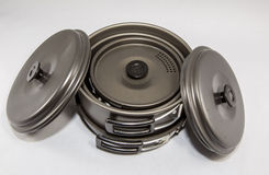 Used Camping Supplies - Cooking Set Stock Photos