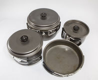 Used Camping Supplies - Cooking Set Royalty Free Stock Photo