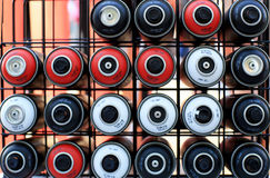 Used cans of paint Stock Images