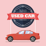 Used car with banner Royalty Free Stock Images
