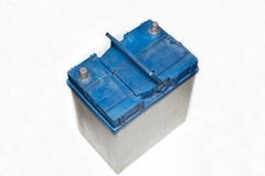 Used car battery. On a white background royalty free stock image