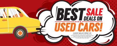 Used Car Best Sale Deal 6250x2500 pixel Banner. Royalty Free Stock Image