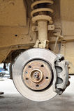 Used car brake on the metallic disk Royalty Free Stock Photo