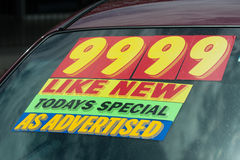 used car lot price sticker Stock Photo