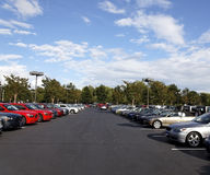 Used Car lot. Rows of automobiles on used car lot. Horizontal Royalty Free Stock Photos