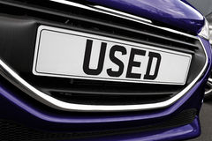 Used car Number plate. Number plate of a used cars for retail sale on a motor dealers forecourt all logos removed Stock Photography