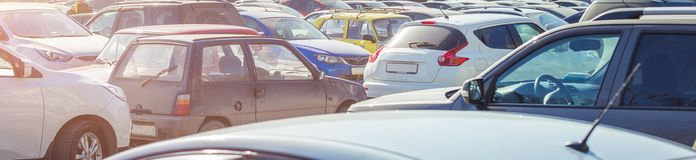 Used parking cars. Used car parking on the city street Stock Photo