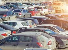 Used parking cars. Used car parking on the city street Stock Images