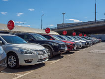 Used car parking for sale. royalty free stock images