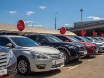 Used car parking for sale. Royalty Free Stock Photography