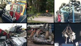 Used car parts and special equipment handle metal scrap. Collage. Parts of used car bodies and special equipment handling in metal scrap. Crane loading pressed stock footage