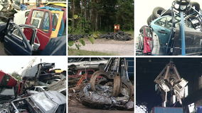 Used car parts and special equipment handle metal scrap. Collage. Parts of used car bodies and special equipment handling in metal scrap. Crane loading pressed stock video footage