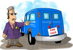 Used car sales. This illustration that I created depicts a man selling a used car Royalty Free Stock Image