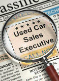 Used Car Sales Executive Hiring Now. 3D. Stock Photo