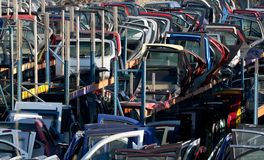 Used car spare parts. Scrapyard with a lot of used car spare parts Royalty Free Stock Photos