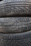 Used car tires. close-up Stock Photos