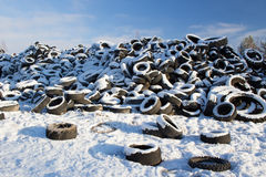 Used car tires. Old car tires in waste management center Royalty Free Stock Photos
