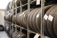 Used car tires. Used car tires at warehouse stock images