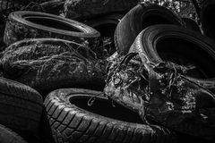 Used car tyres background Stock Photo