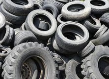 Used car tyres garbage for recycling Royalty Free Stock Photos