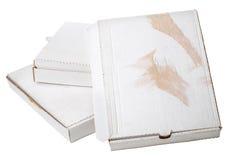 Used cardboard boxes on white background. Used cardboard white box stack Stock Image