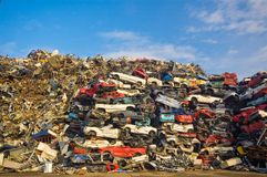 Used cars. Pile of used cars with blue sky stock images